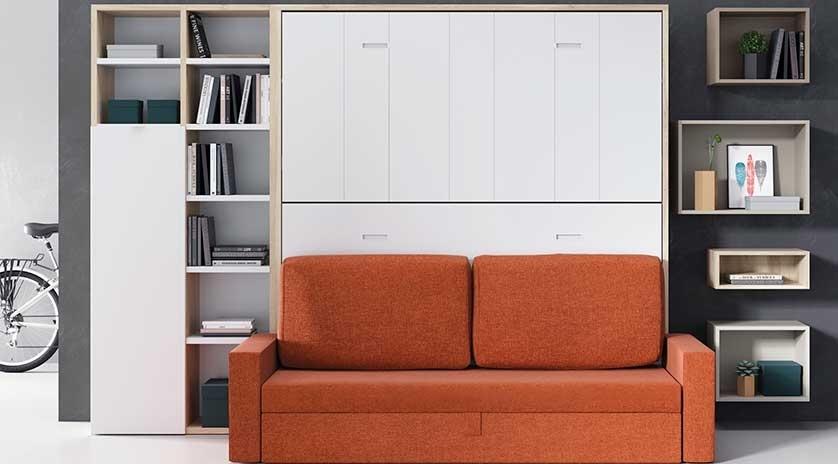 Mueble cama individual con sofá cama abierta