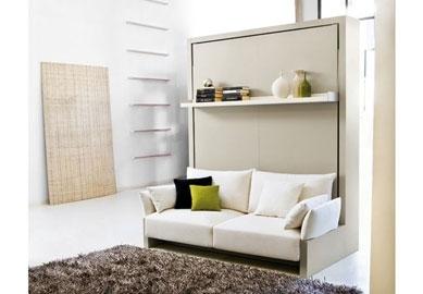Muebles cama abatibles con sof verticales de matrimonio for Muebles que se esconden
