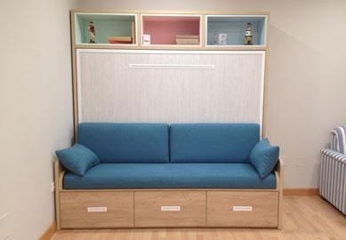 Muebles cama abatibles con sof horizontales de matrimonio for Muebles que se esconden