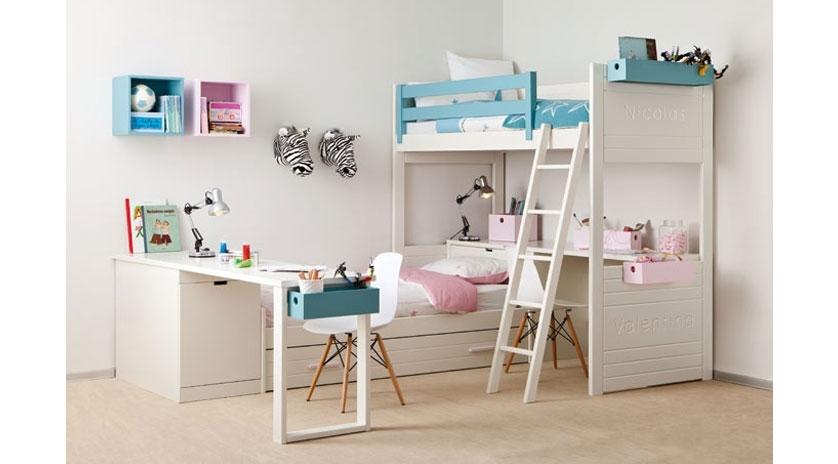 Habitaci n infantil con cama nido y litera sofas cama cruces - Sofa cama convertible litera ...