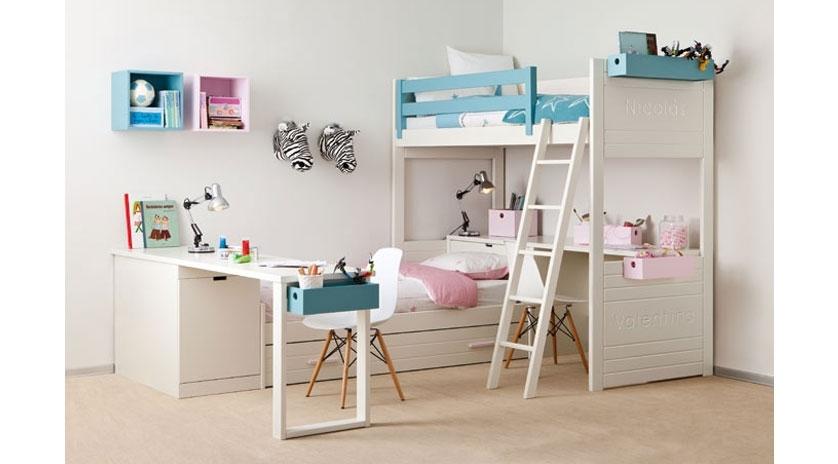 Habitaci n infantil con litera y cama nido sofas cama cruces - Literas en angulo ...