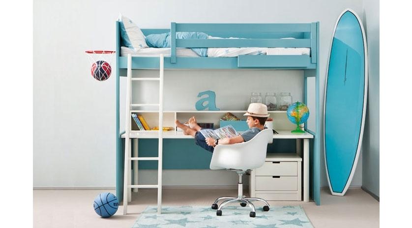 Litera loft con mesa de escritorio integrada sofas cama - Cama litera con escritorio debajo ...