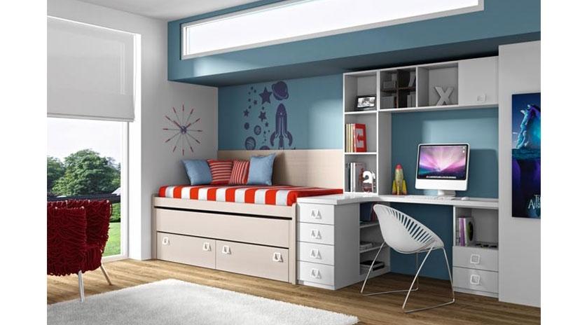 Habitaci n de cama nido con somier y cajones sofas cama - Habitacion con cama nido ...