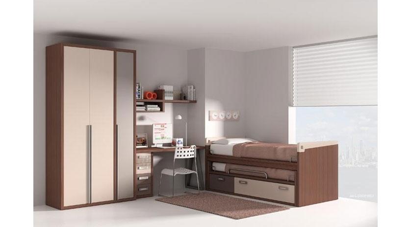 Dormitorio con cama nido somier inferior y cajones - Somier con cama nido ...