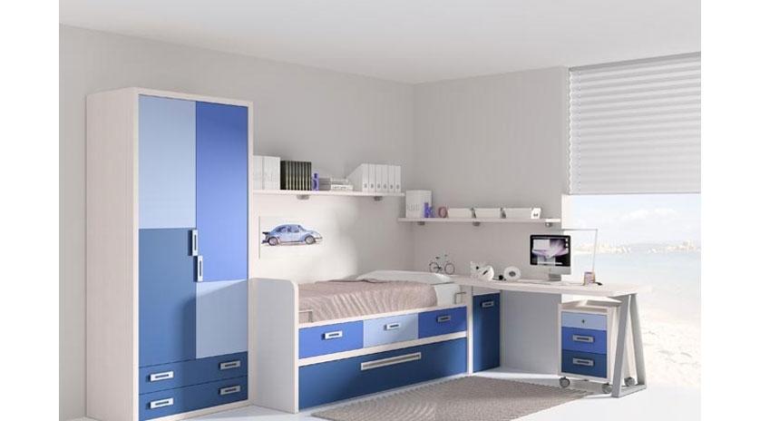 Dormitorio con cama nido cajones y somier inferior - Somier con cama nido ...