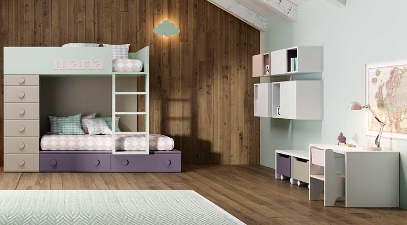Habitaci n juvenil compartida con litera blanca y fucsia sofas cama cruces - Habitaciones juveniles blancas ...