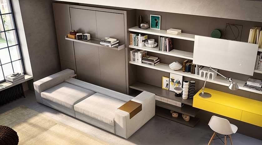mueble abatible autoportante con sofá