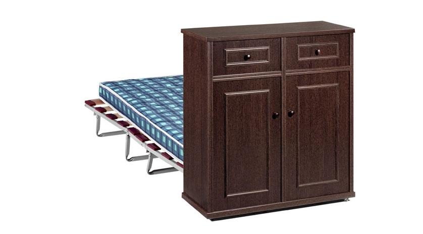 Mueble cama plegado simulando una comodita sofas cama cruces for Mueble cama plegable