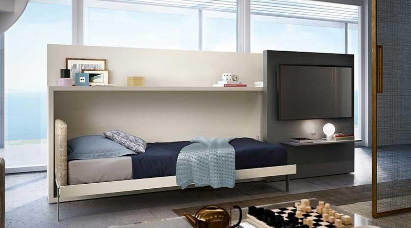 mueble cama abatible horizontal con panel tv