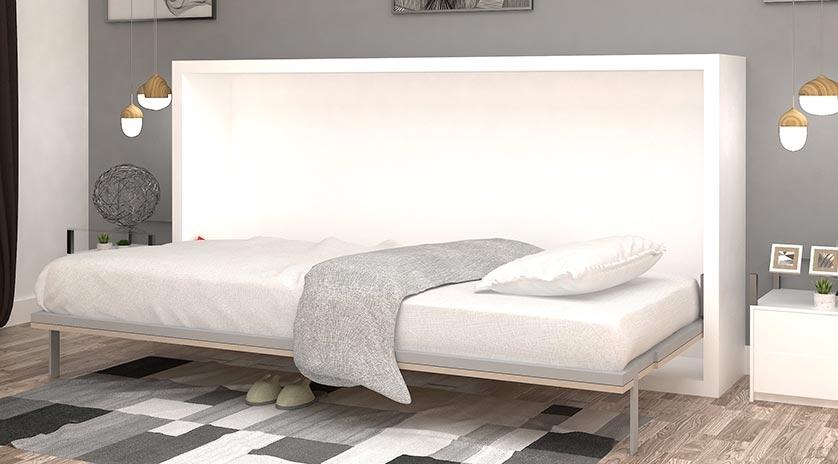 Cama abatible de 90 120 con mesa sat lite y librer a - Muebles con cama abatible horizontal ...