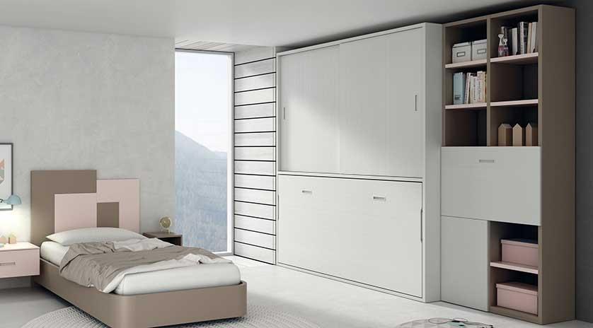 Mueble cama abatible horizontal con armario arriba
