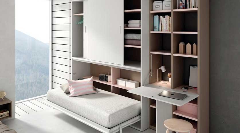 Mueble cama abatible horizontal con armario arriba sofas - Armario cama abatible ...