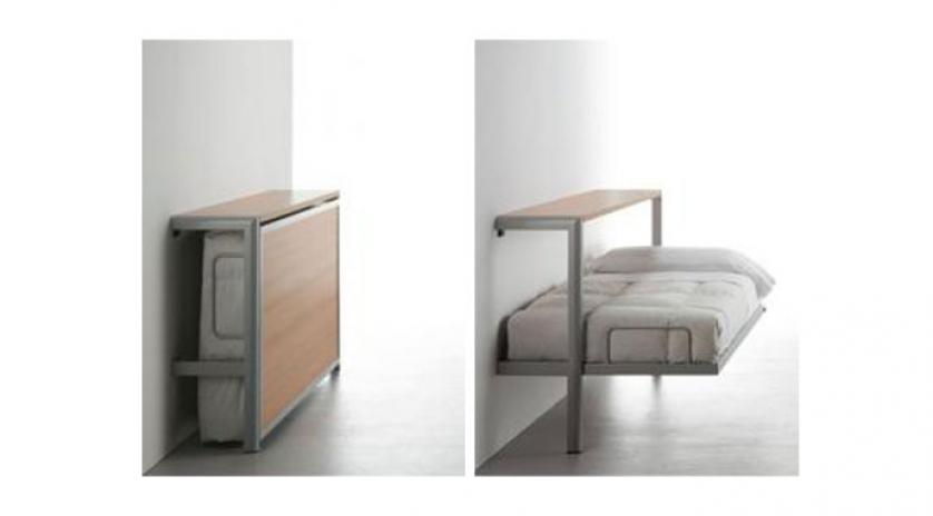 Ligera cama horizontal con estructura met lica vista for Cama individual metalica