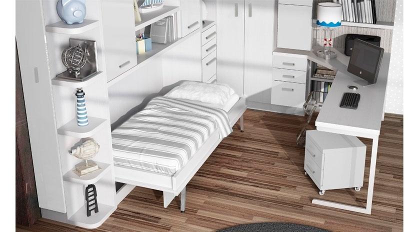 Cama abatible horizontal con estantes y dos armarios arriba