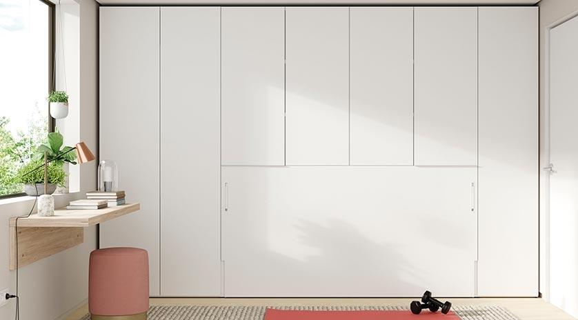 Cama abatible individual con estantes y armario arriba - Armario con cama ...