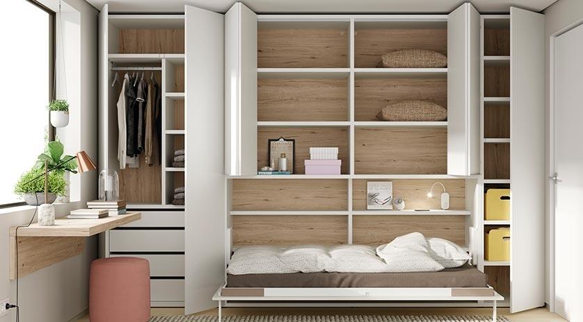 Cama abatible individual con estantes y armario arriba