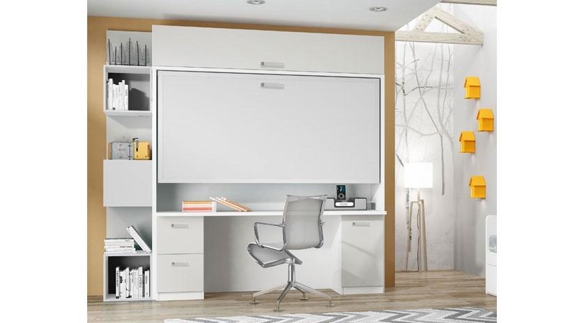 Cama abatible horizontal elevada con gran mesa de estudio debajo