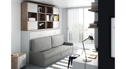 Mueble cama abatible con armarios arriba