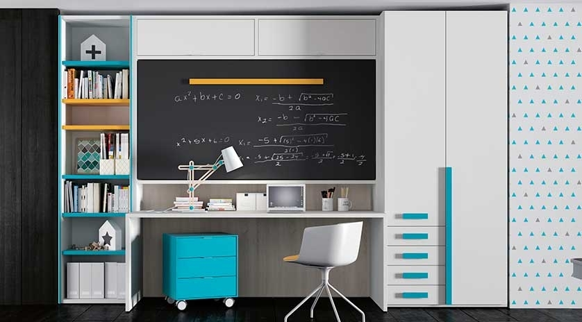Cama abatible horizontal elevada con escritorio debajo - Mesas de estudio abatibles ...