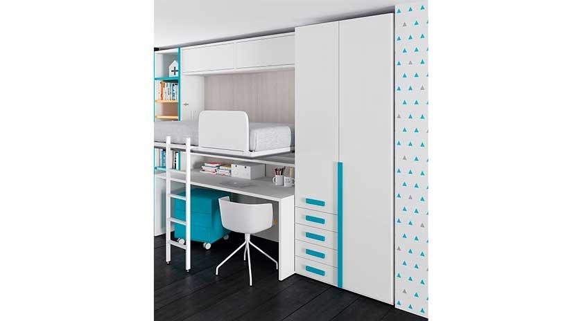 Cama abatible horizontal elevada con escritorio debajo