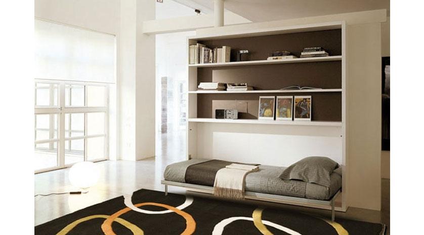Mueble abatible horizontal con librer a sofas cama cruces for Camas plegables con mueble