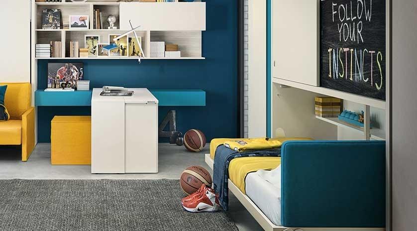 Mueble cama de 90 abatible con armarios corredera arriba - Muebles con cama abatible ...