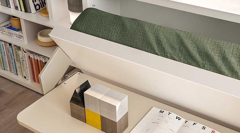 Mueble cama de 90 con mesa delante