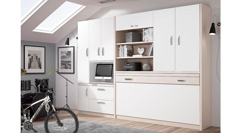 Mueble cama individual, con estantes y armario arriba y escritorio extraíble