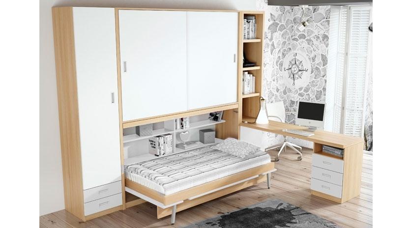 Cama abatible horizontal con armario arriba abierta