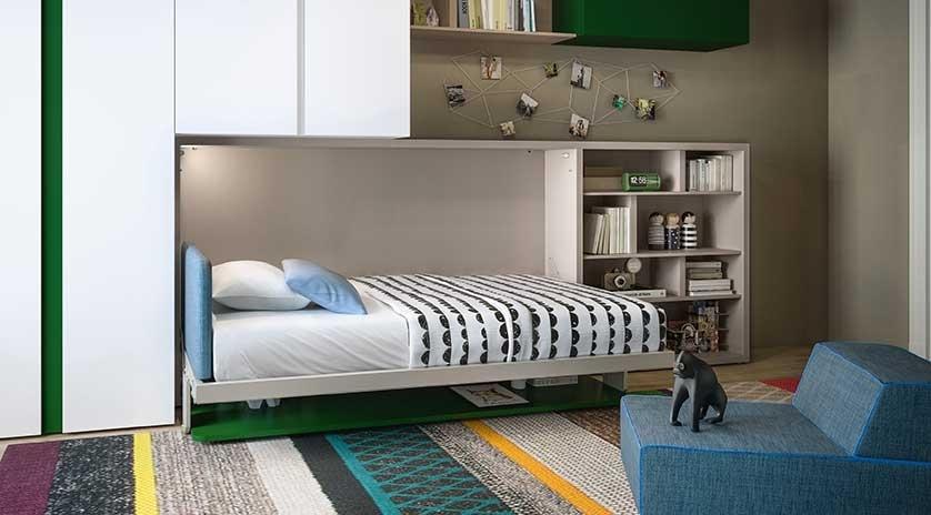 Cama abatible de 120 o de 90 y mesa con sat lite sofas - Muebles con cama abatible horizontal ...
