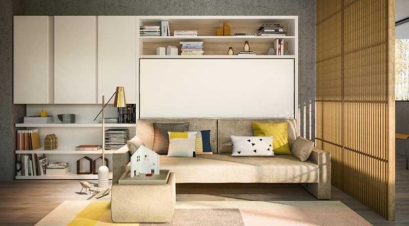 Mueble cama de matrimonio con sofá delante