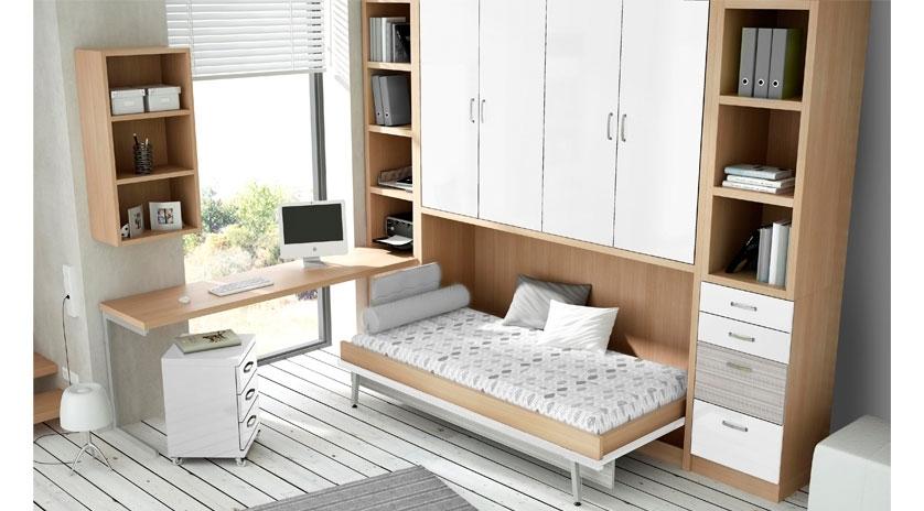 Mueble cama individual con armario encima | Sofas Cama Cruces