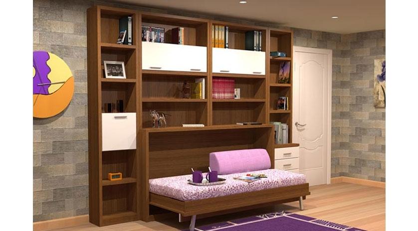 Mueble cama individual con librería
