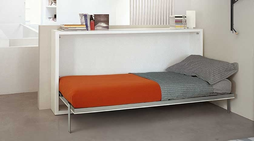 Mueble cama abatible horizontal con mesa escritorio