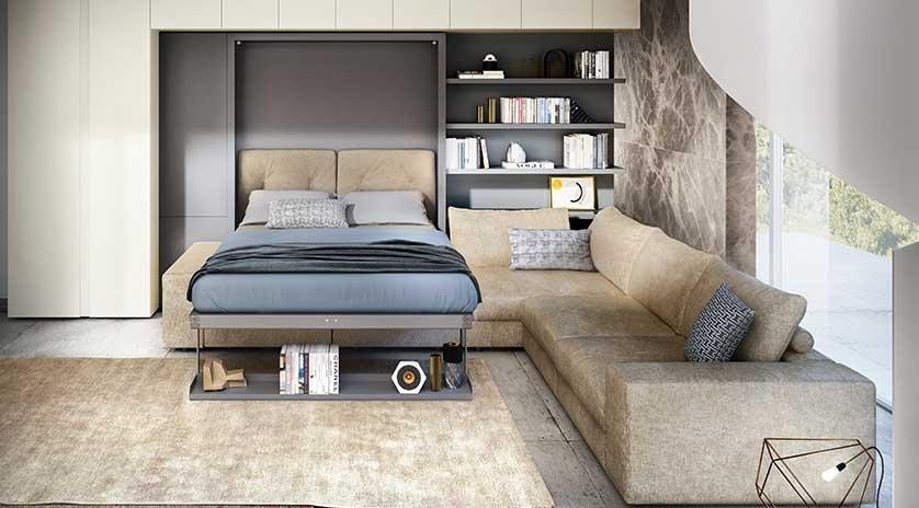 Cama abatible vertical de matrimonio con sof rinconero for Sofa cama de matrimonio