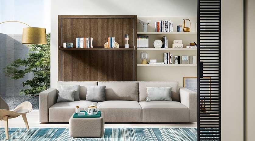 Mueble cama abatible vertical de matrimonio con sof y for Sofa cama armario