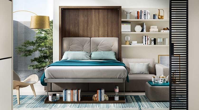 Mueble cama abatible vertical de matrimonio con sof y for Muebles la fabrica sofas cama