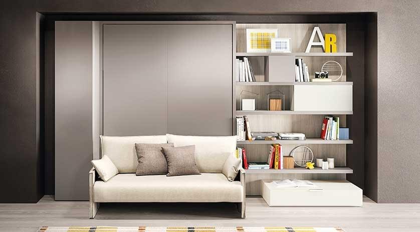 Mueble cama de matrimonio con sof para pisos peque os - Muebles pisos pequenos ...