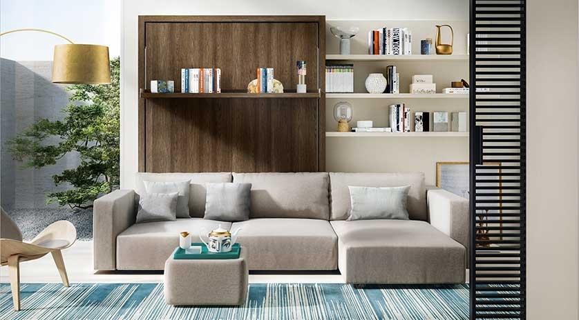 mueble cama abatible vertical con sofá