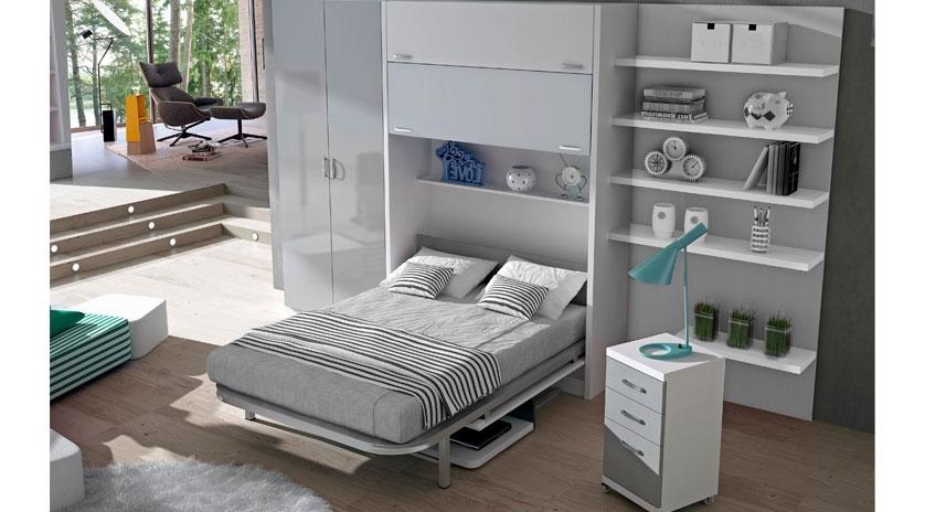 Mueble cama abatible de matrimonio con mesa delante for Mueble juvenil cama abatible