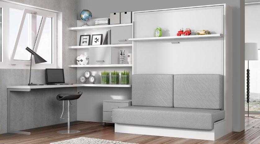 Cama abatible de matrimonio con sof delante sofas cama for Muebles la fabrica sofas cama