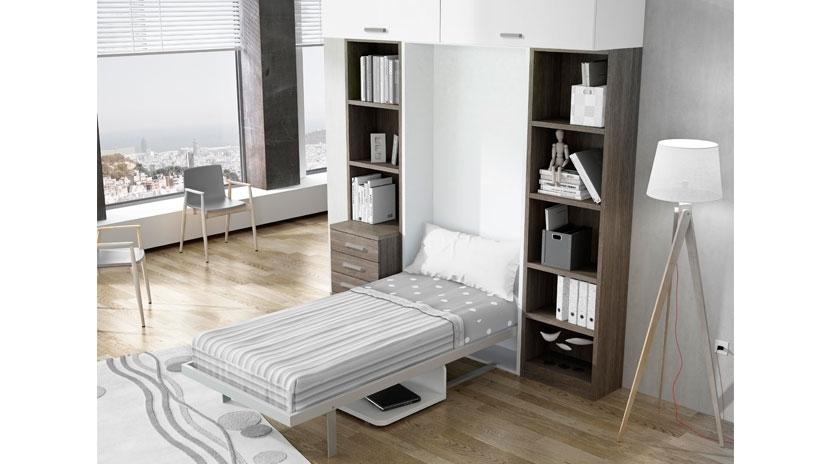 Mueble cama abatible con mesa sofas cama cruces for Mueble cama abatible vertical matrimonio