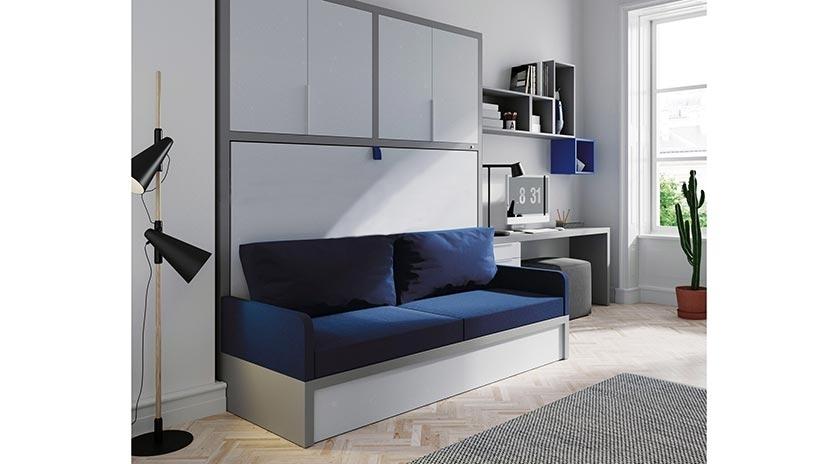 Mueble cama abatible en horizontal con sof sofas cama for Sofa cama armario