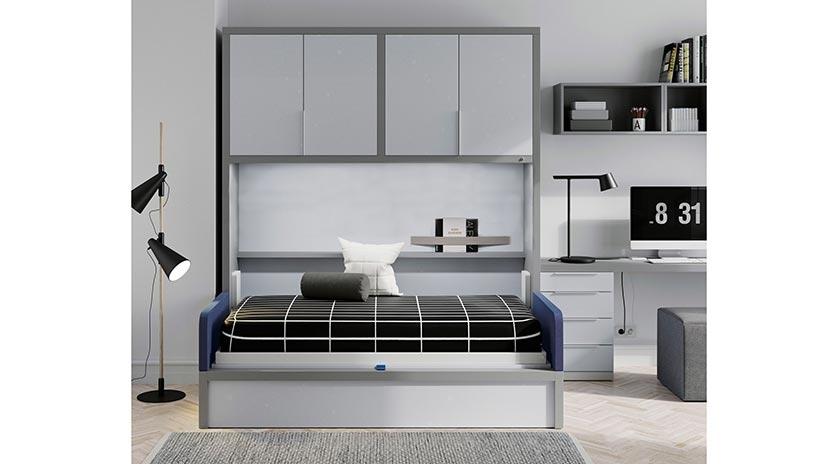 Mueble cama abatible en horizontal con sofá