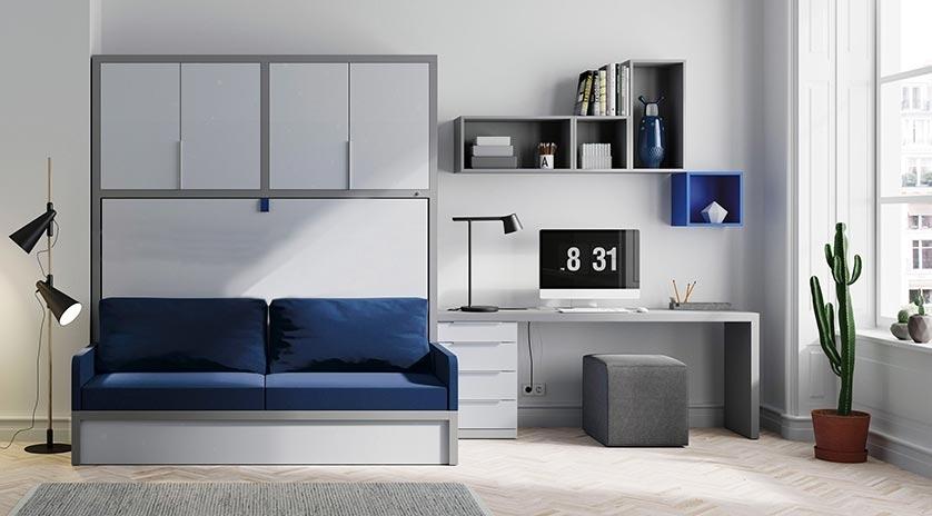 Mueble cama abatible en horizontal con sof sofas cama - Muebles con cama abatible ...