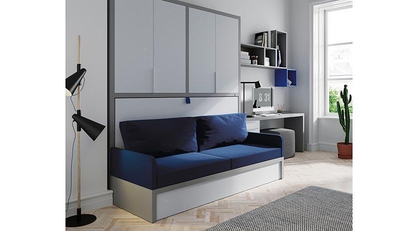 Mueble cama individual con sof sofas cama cruces for Mueble divan cama