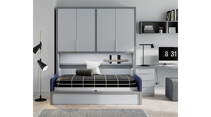 Mueble cama individual con sofá