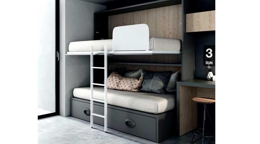 Mueble cama con sofá y otra cama arriba