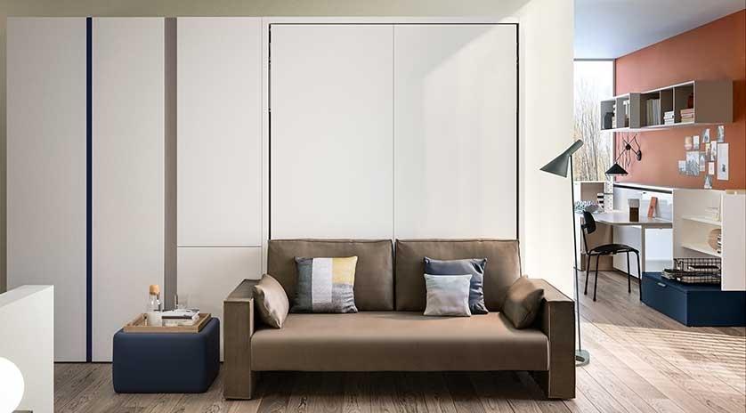 Mueble cama abatible, con sofá al frente