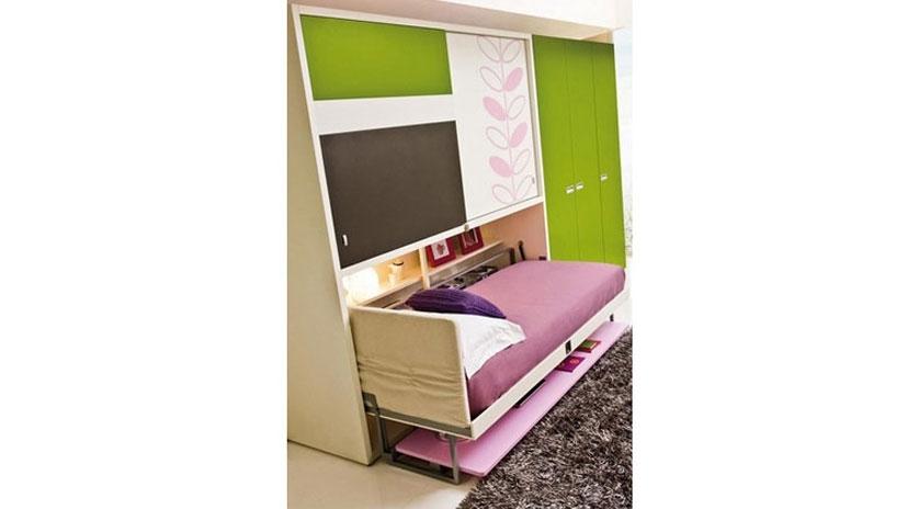 Mueble cama abatible con escritorio al frente y armario - Muebles con cama abatible ...